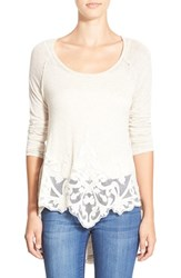 Junior Women's Living Doll Lace Applique Long Sleeve Tee Oatmeal