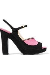 Moschino Leather Trimmed Suede Sandals Pink