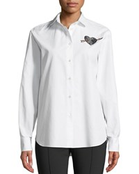 Valentino Long Sleeve Button Front Poplin Shirt With Love Heart Embroidery White