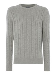 Howick Sanford Cable Crew Jumper Grey Marl