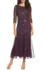 Pisarro Nights Petite Women's Embellished Mesh Gown Plum