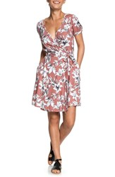 Roxy Monument View Floral Print Wrap Dress Withered Rose Lily House