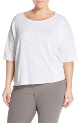 Plus Size Women's Eileen Fisher Organic Linen And Cotton Ballet Neck Sweater White