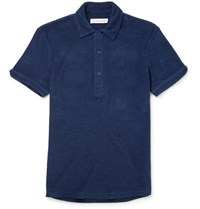 Orlebar Brown Sebastian Slim Fit Cotton Terry Polo Shirt Blue