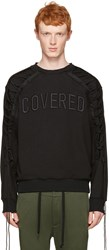 Juun.J Black Lace Up Covered Pullover