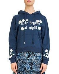 The Kooples Life Begins At Night Embroidered Graphic Hoodie Navy