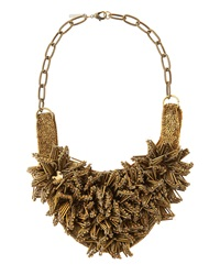 Deepa Gurnani Brass Flower Bib Necklace