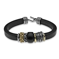 Platadepalo Black Leather Bracelet With Silver Bronze And Natural Resin