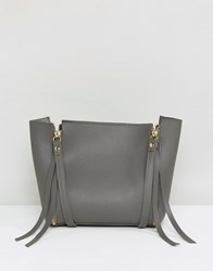 Amy Lynn Structured Boxy Bag With Optional Strap Grey