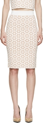 Alexander Mcqueen Beige And White Knit Floral Pencil Skirt