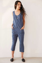Silence And Noise Surplice Back Cropped Jumpsuit Blue