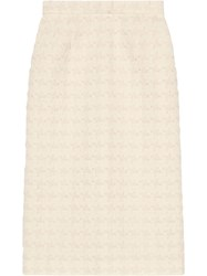 Gucci Houndstooth Tweed Skirt White