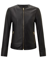 John Lewis Collarless Leather Jacket Black