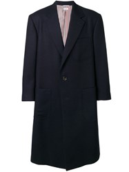 Thom Browne Oversized Double Face Sack Overcoat Blue