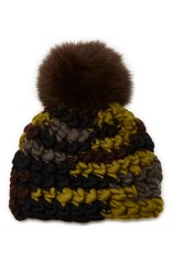 Mischa Lampert Beanie Pomster Black Yellow Brown