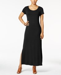 Style And Co Petite Short Sleeve Maxi Dress Only At Macy's Deep Black