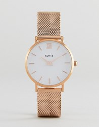 Cluse Cl30013 Minuit Mesh Watch In Rose Gold Gold