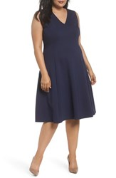 Sejour Plus Size Women's V Neck Ponte Fit And Flare Dress Navy Peacoat
