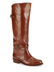 Frye Almond Toe Leather Riding Boots Whiskey
