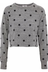 Lna Brushed Roos Cropped Printed Stretch Jersey Sweatshirt Gray