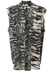 Saint Laurent Tiger Print Blouse Black