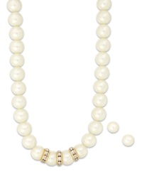 Charter Club Glass Pearl And Crystal Jewelry Set Gold