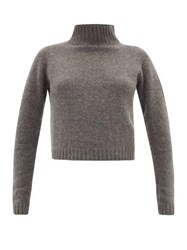 The Elder Statesman Highland Cropped Cashmere Sweater Grey