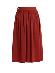 Loup Charmant Side Button Cotton Skirt Red