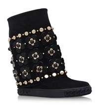 Casadei Sporty Floral Wedge Boots Female Black