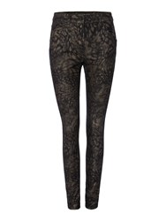 Biba Abstract Leopard Foil Skinny Jeans Black