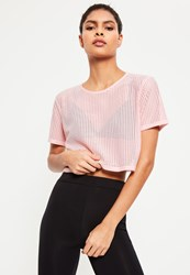 Missguided Active Pink Fishnet Cropped Tee