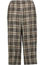 Valentino Cropped Wool Blend Tweed Wide Leg Pants Multi