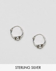 Asos Sterling Silver 10Mm Hoop With Ball Earrings Silver Ox