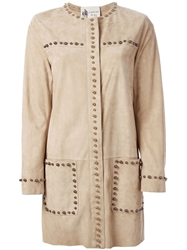 Lanvin Studded Coat Nude And Neutrals