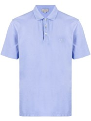 Canali Embroidered Monogram Polo Shirt Blue