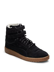 Puma Round Toe Lace Up Sneakers Black