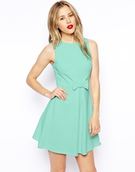 Asos Skater Dress In Texture With Bow Front Mint