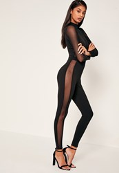 Missguided Black Mesh Panel High Neck Jumpsuit
