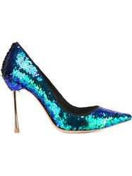 Sophia Webster 'Coco' Sequin Pointed Toe Pumps Blue