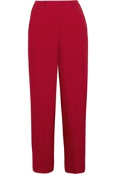 Christophe Lemaire Satin Twill Wide Leg Pants Crimson