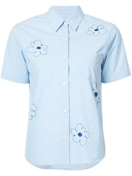 Jimi Roos Flowers Embroidered Short Sleeve Shirt Blue