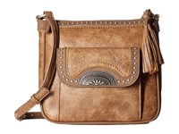 American West Guns And Roses Crossbody W Secret Compartment Mocha Cross Body Handbags Brown