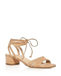Via Spiga Taryn Ankle Tie Block Heel Sandals Nude
