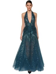 Elie Saab Sequin And Beads Embellished Tulle Dress Blue