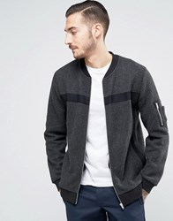 Asos Jersey Bomber Jacket With Taping And Ma1 Pocket Charcoal Grey