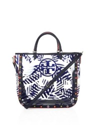 Tory Burch Marguerite Palm Leaf Printed Tote Blue White