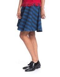 Plenty By Tracy Reese Diagonal Stripe Flared Circle Skirt Indigo