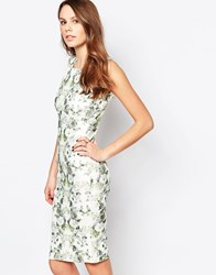 Daisy Street Midi Dress In Mirror Print White