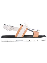 Pollini Fringed Slingback Sandals Women Calf Leather Rubber 38 Nude Neutrals