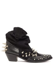 Junya Watanabe Spiked Suede And Snake Effect Leather Boots Black
